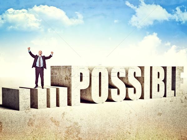 Erzeugnis möglich glücklich Mann unmöglich konkrete Stock foto © tiero