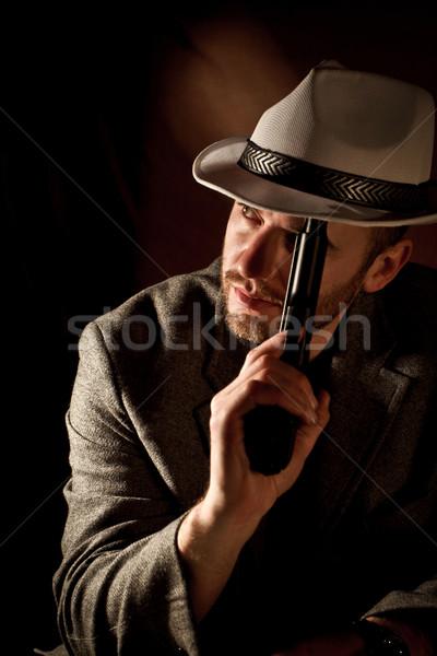 Gangster retrato caucásico relajarse negro jóvenes Foto stock © tiero