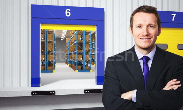 Foto stock: Trabajador · sonriendo · empresario · 3D · almacén · negocios