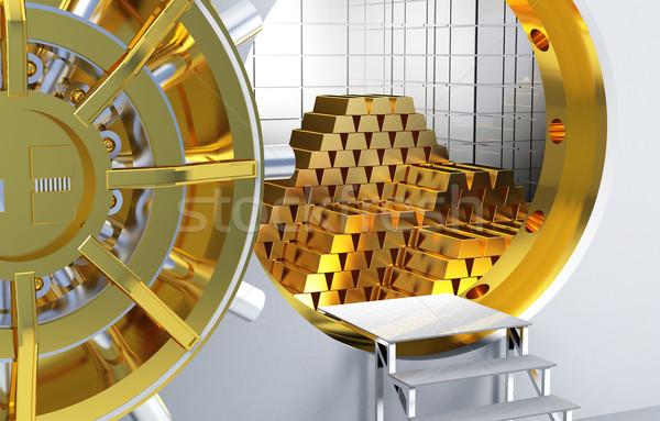 Arany rácsok bank agykoponya arany pénz Stock fotó © tiero