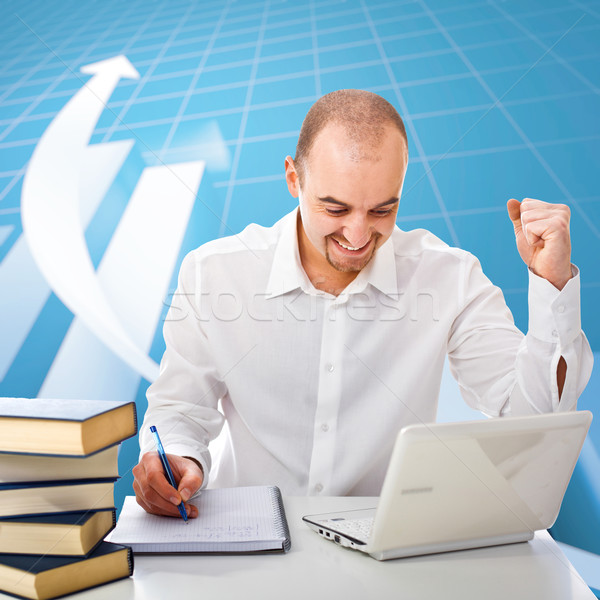 man and graph business background Stock photo © tiero