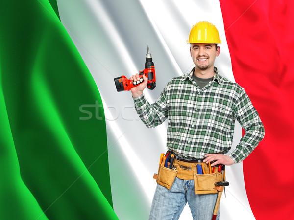 Italien travailleur souriant homme drapeau italien Photo stock © tiero