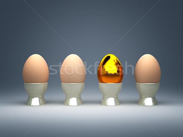 Złote jajka 3d ilustracji złoty naturalnych jaj Wielkanoc Zdjęcia stock © tiero