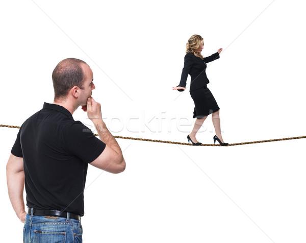 Femme corde jeunes acrobat isolé Photo stock © tiero