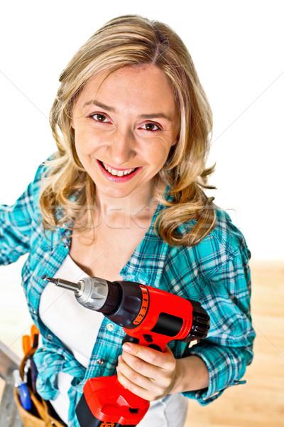 女性 義務 笑みを浮かべて 小さな 白人 作業 ストックフォト © tiero