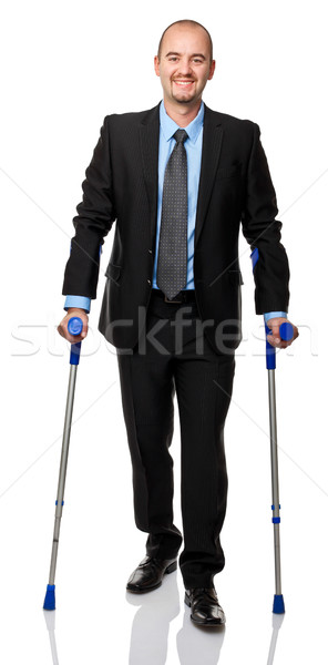 Zakenman kruk geïsoleerd witte man geneeskunde Stockfoto © tiero
