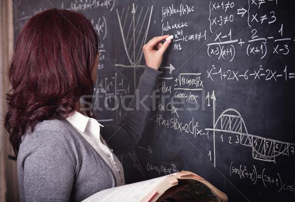 女性 教師 学校 肖像 黒板 美 ストックフォト © tiero