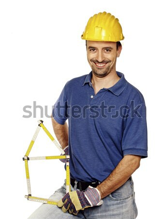 contruction worker with spirit level Stock photo © tiero