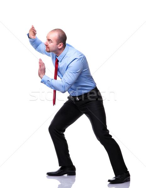 Stockfoto: Man · positie · zakenman · actie · geïsoleerd