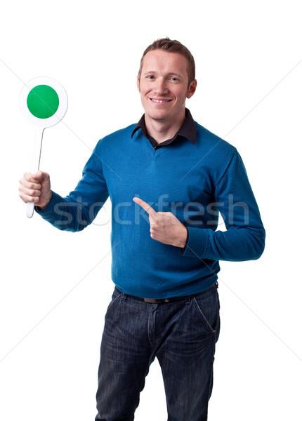 человека сигнала портрет зеленый счастливым Сток-фото © tiero
