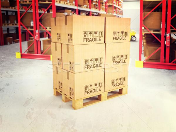 3d pallets in warehouse Stock photo © tiero