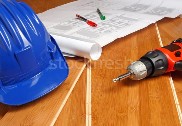 helmet and blueprint Stock photo © tiero