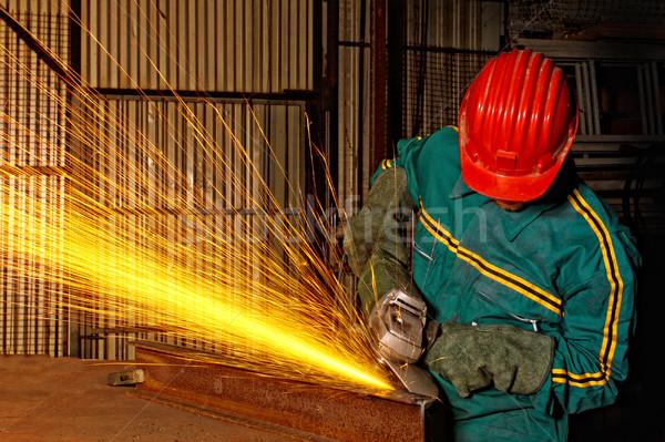 Nehéz ipar utasítás munkás daráló kéz Stock fotó © tiero