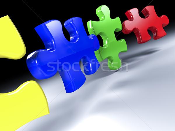 Kirakós játék szín 3D absztrakt jókedv puzzle Stock fotó © tiero