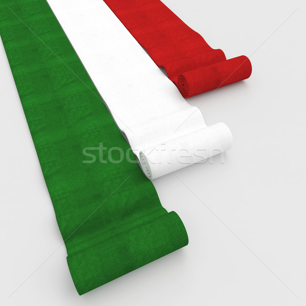 Drapeau italien tapis 3D image couleurs Photo stock © tiero
