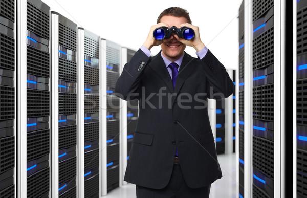 Férfi adatközpont 3D szerver boldog technológia Stock fotó © tiero