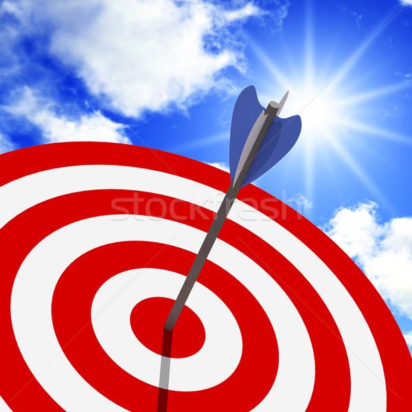 Klassiek target blauwe hemel 3D pijl sport Stockfoto © tiero