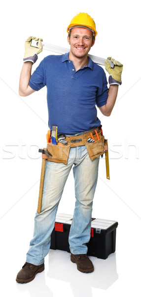 handyman with spirit level Stock photo © tiero