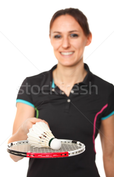 Stock photo: badminton player portrait
