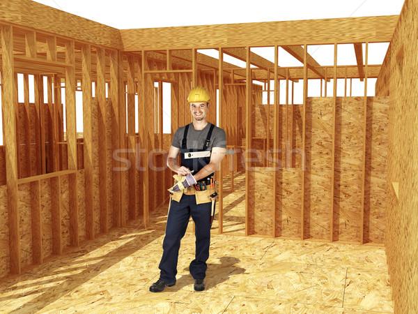 Foto stock: Manitas · carpintero · listo · inicio · Trabajo
