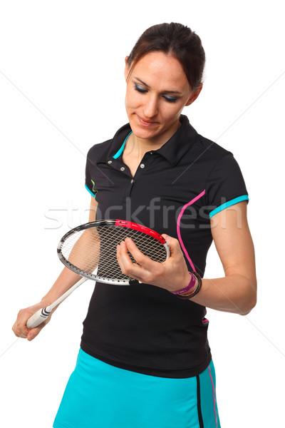 Badminton mulher veja isolado branco Foto stock © tiero