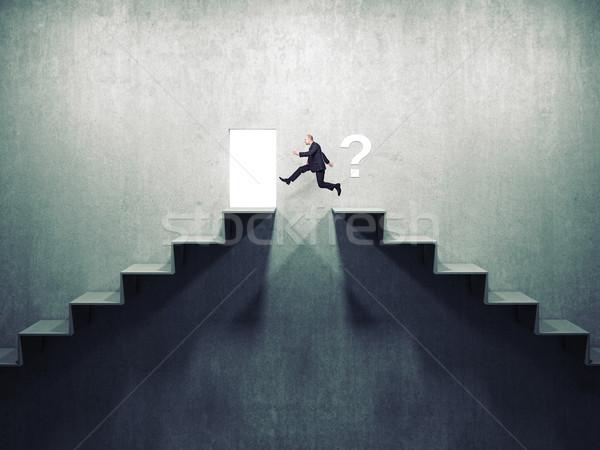 Jobb út üzletember ugrás 3D absztrakt Stock fotó © tiero