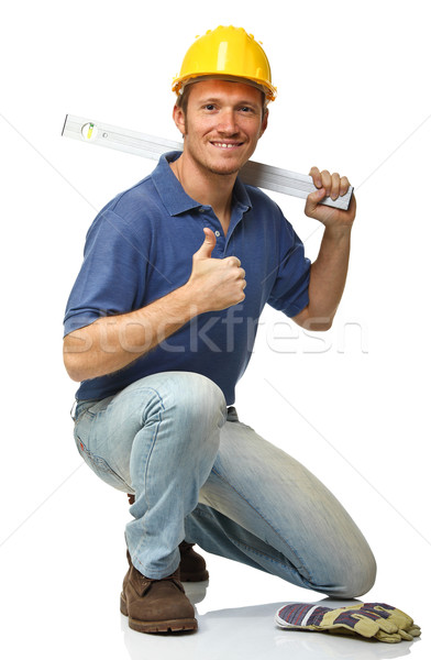 crouched manual worker portrait Stock photo © tiero