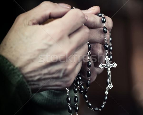 Stockfoto: Handen · vrouwelijke · klassiek · rozenkrans · kruis