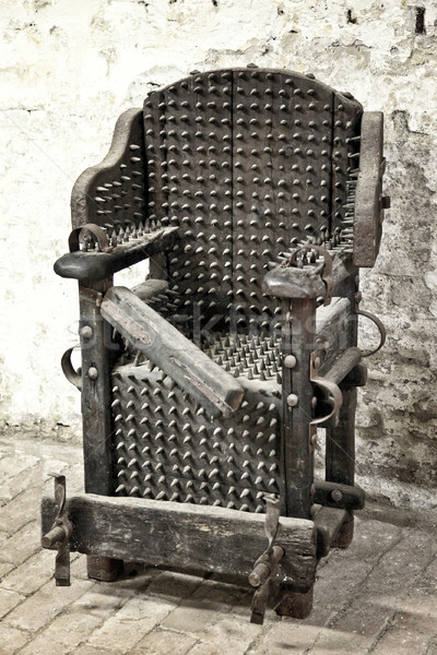 Işkence sandalye detay ortaçağ tırnak demir Stok fotoğraf © tiero
