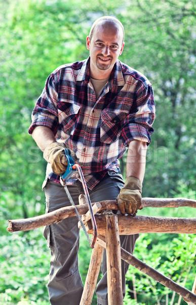 木こり 肖像 自然 ツリー 男 木材 ストックフォト © tiero
