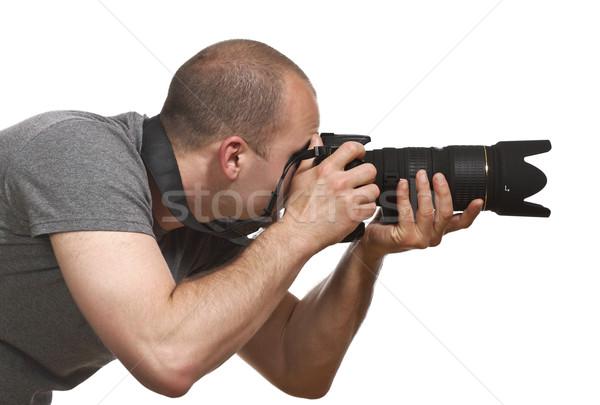 Paparazzi fotograf odizolowany portret młodych Zdjęcia stock © tiero