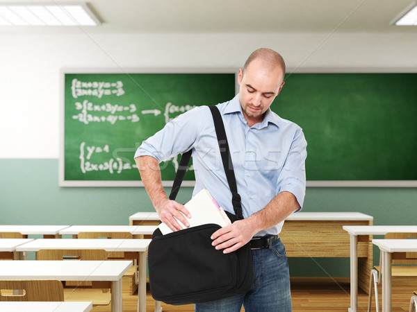 Homem sala de aula moço saco 3D sorrir Foto stock © tiero