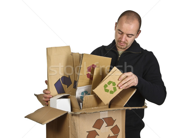 Photo stock: Homme · recyclage · carton · image · affaires