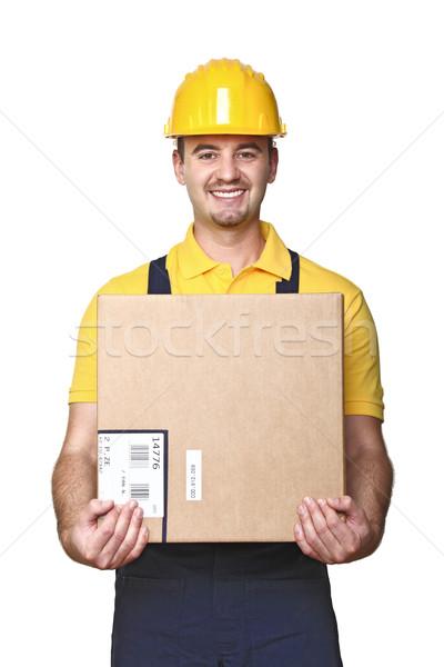 Utasítás munkás házhozszállítás fiatal doboz izolált Stock fotó © tiero
