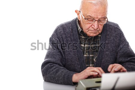 senior use laptop Stock photo © tiero