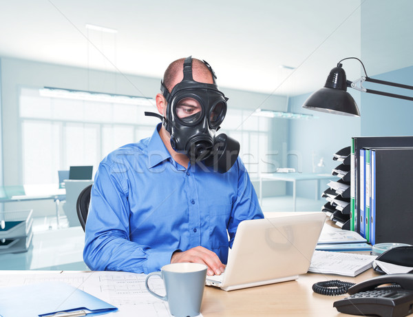Post atómico trabajador hombre máscara de gas Foto stock © tiero