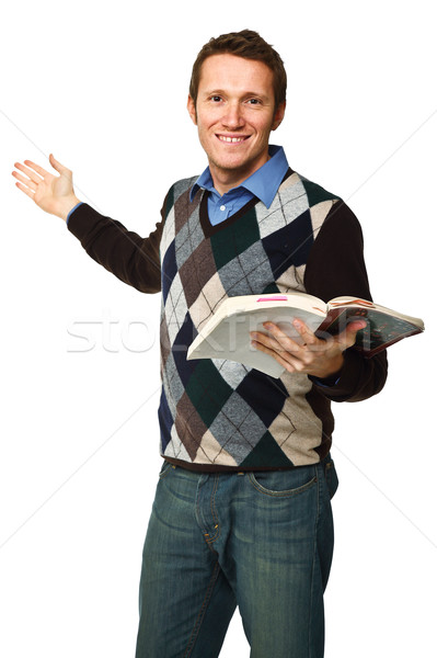 happy teacher with book Stock photo © tiero