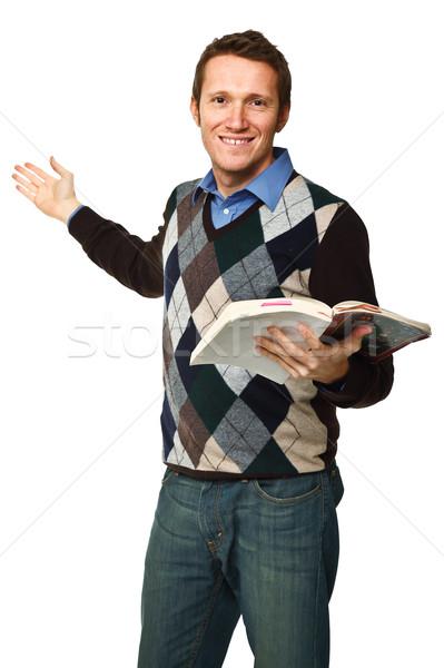 Mutlu öğretmen kitap görüntü kafkas Stok fotoğraf © tiero