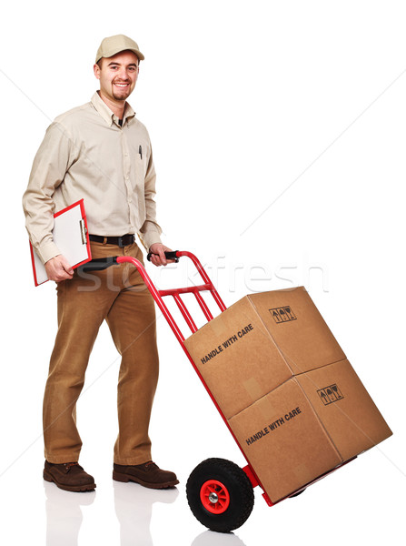 friendly delivery man Stock photo © tiero