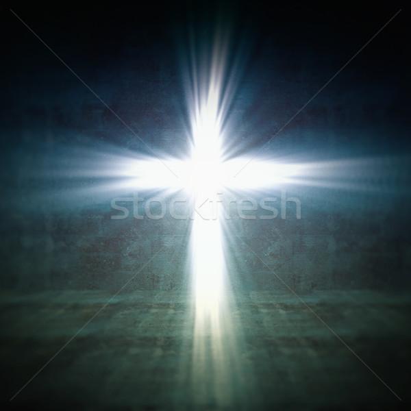 Krzyż świetle 3D obraz sylwetka modlić Zdjęcia stock © tiero