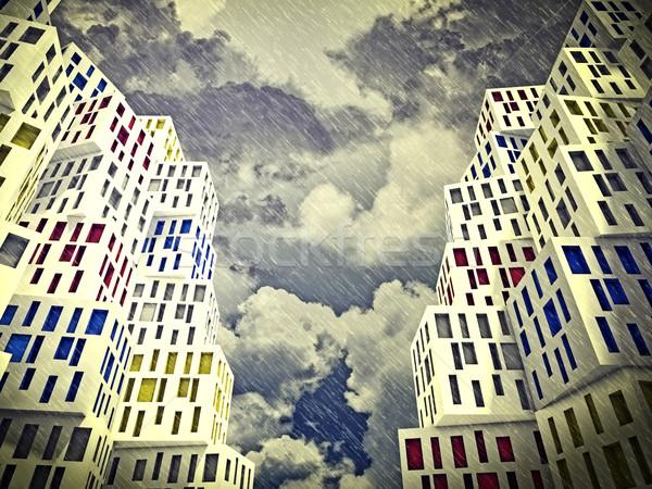 Slechte weer 3D abstract gebouw regenachtig dag Stockfoto © tiero