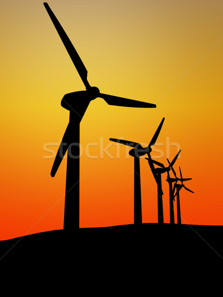 wind turbine in the sunset Stock photo © tiero