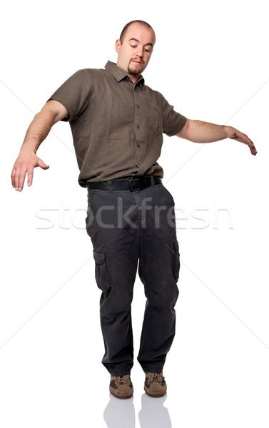 Egyensúly férfi izolált fehér áll Stock fotó © tiero