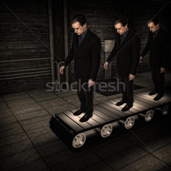 Gyár férfi üzletember klón 3D üzlet Stock fotó © tiero