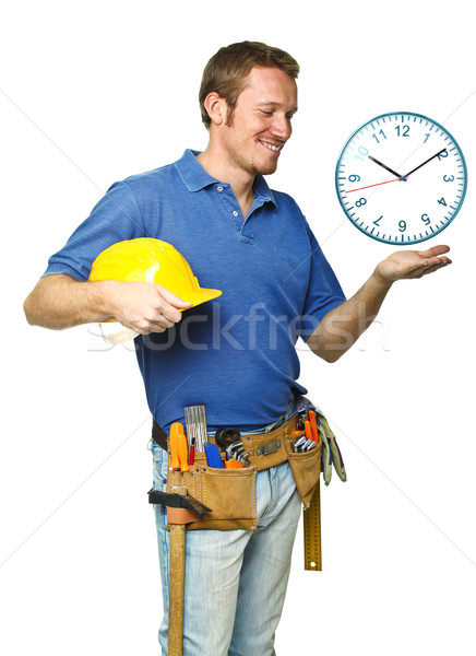smiling worker and time Stock photo © tiero