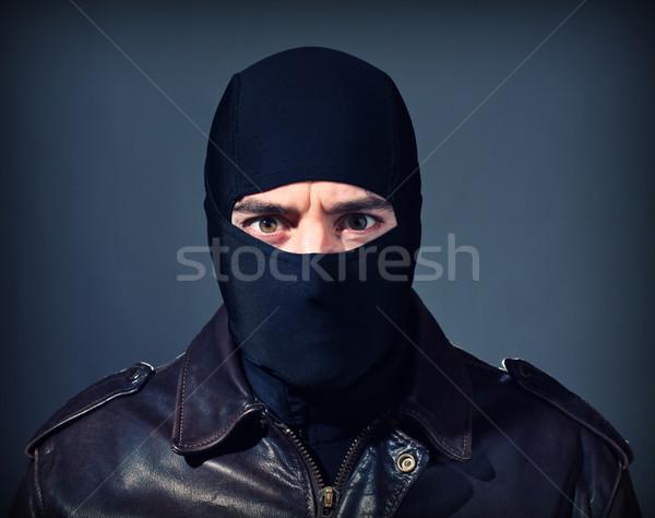 Bűnöző portré fehér tolvaj fekete fegyver Stock fotó © tiero