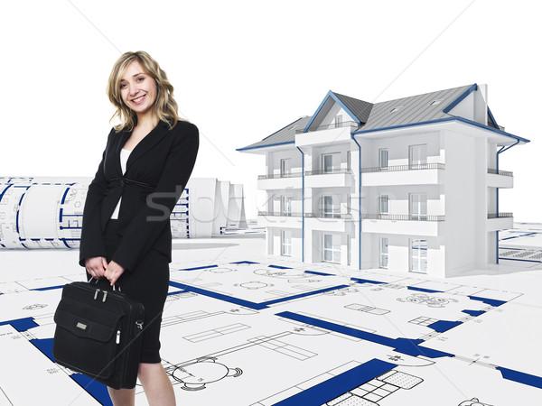 Photo stock: Besoin · maison · souriant · femme · blonde · 3D · femme