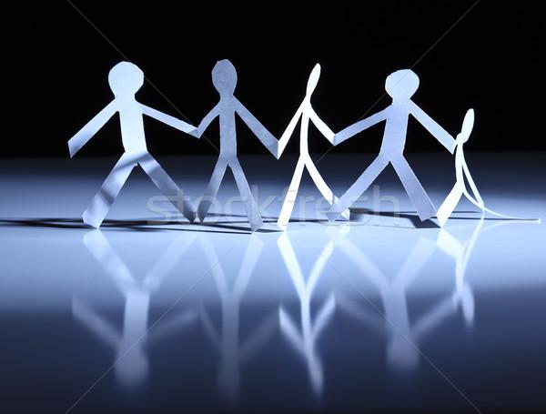 Papier werk team mensen verplaatsen zoals Stockfoto © tiero