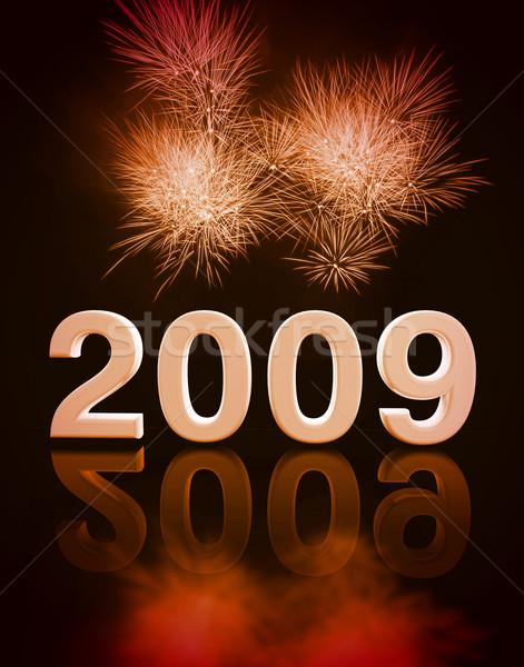 2009 buli új év kép 3D tűzijáték Stock fotó © tiero