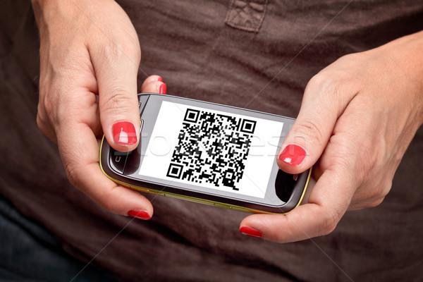 Qr code smartphone detail scherm business technologie Stockfoto © tiero